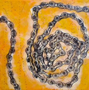 encaustic paintings yellow chain by victoria eubanks