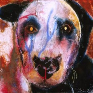 dog looking at you #1 encaustic painting by jan harrison